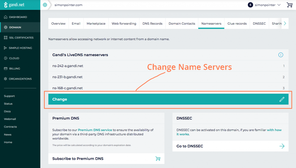 Changing DNS settings and name servers on the Gandi control panel